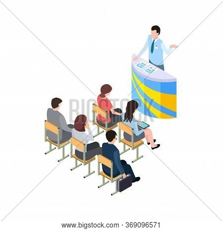 Business Training. Coach On Tribune, 3d People Learning Or Listen Presentation. Isometric Man Woman