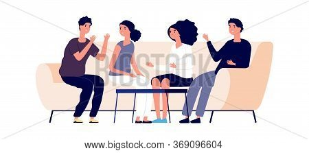 Discussion Concept. Flat Young Businesspeople Discuss Start Up. Friendship, Isolated Men Women On Co
