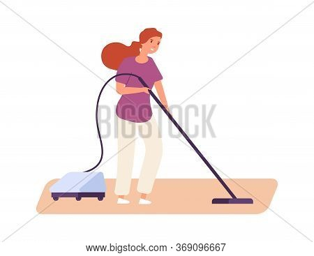 Girl Vacuuming. Cute Woman Doing Housework. Flat Housewife With Vacuum. Isolated Female Or Cleaning