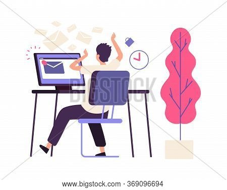 Inefficient Time Management. Administrator Receives Lot Of Messages. Busy Man, Operator Or Manager F