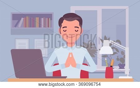 Office Worker Meditating To Concentrate, Yogi Man Practicing Yoga At Workplace, Doing Namaste Hand G