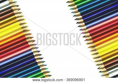 Crayons. Frame Of Colorful Pencils Isolated On White Background. Back To School Concept.