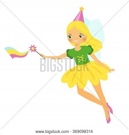 Cute Fairy. Cartoon Fantasy Fairy Princess Flap Rainbow Magic Wand. Pixie, Flower Elf Girl
