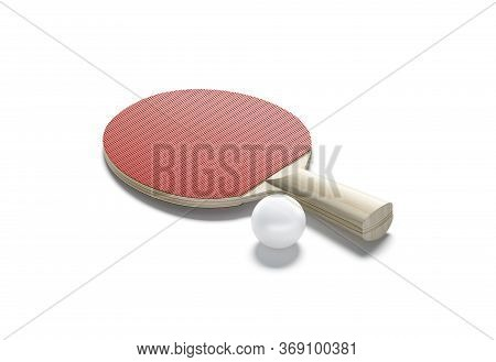 Blank Red Wood Table Tennis Racket With Ball Mockup, Isolated, 3d Rendering. Empty Rubber Paddle And