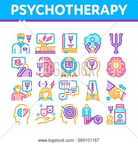 Psychotherapy Help Collection Icons Set Vector. Handshake And Brain, Psychotherapist And Patient, Ps