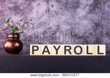 Word Payroll Made With Wood Building Blocks On A Gray Background