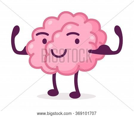 Strong Muscular Pink Brain, Funny Human Nervous System Organ Cartoon Character Vector Illustration O