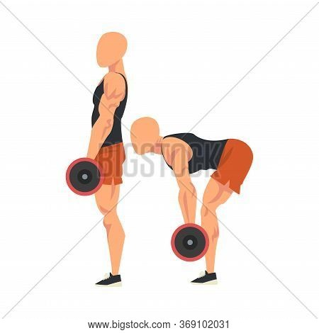 Man Doing Dumbbell Deadlift In Two Steps, Male Athlete Doing Sports For Fit Body, Buttock Workout Ve