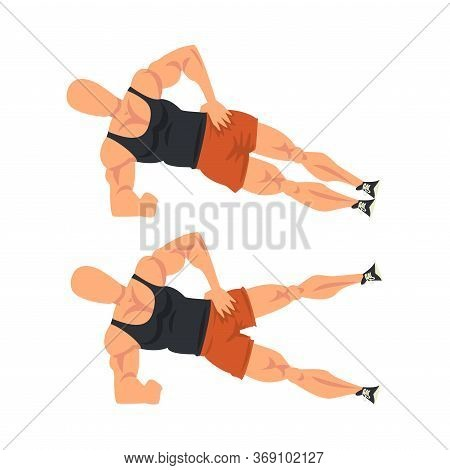 Man Doing Leg Rise Exercise In Two Steps, Male Athlete Doing Sports For Fit Body, Buttock Workout Ve