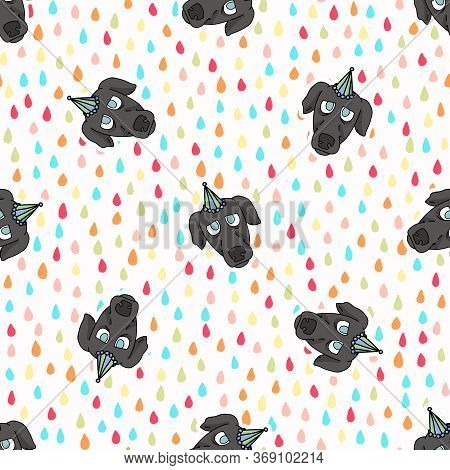Hand Drawn Cute Greyhound Puppy Face With Party Hat Seamless Vector Pattern. Purebred Pedigree Fast