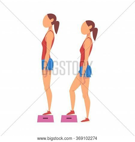 Woman Doing Exercise Using Steps Platform In Two Steps, Girl Doing Sports Firming Her Body, Buttock