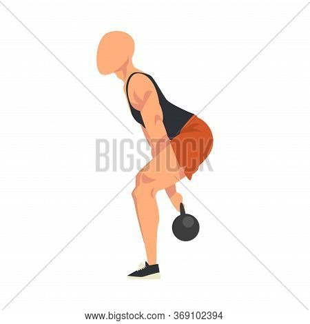Man Doing Squats With Kettlebell, Male Athlete Doing Sports For Fit Body, Buttock Workout Vector Ill