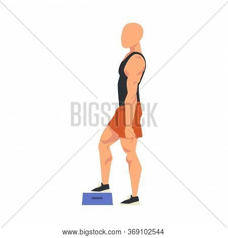 Man Doing Exercise Using Steps Platform, Side View Of Male Athlete Doing Sports For Fit Body, Buttoc