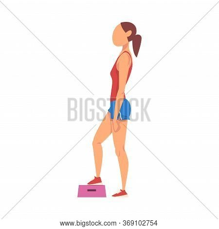 Woman Doing Exercise Using Steps Platform, Girl Doing Sports Firming Her Body, Buttock Workout Vecto