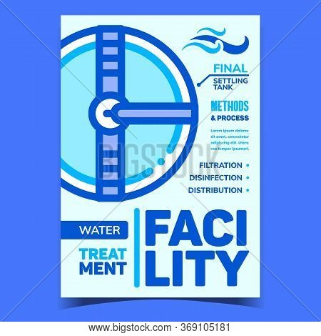 Water Treatment Facility Creative Banner Vector. Final Settling Tank Facility For Filtration, Disinf