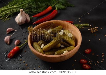 Homemade Small  Cucumbers, Fermented, Salted Or Marinated Pickles With Garlic, Chili And Dill
