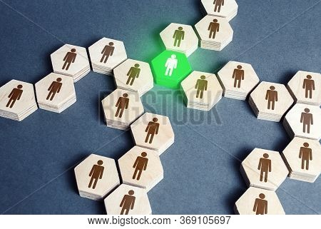 Green Human Figure Is A Connecting Element Of A Network Of People. A Key Essential Element Of The Sy