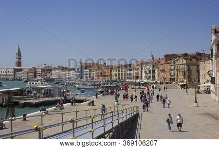Venice, Italy - May 28 2016: Catwalk In Venice On The Famous Rivadegli Schiavoni Waterfront