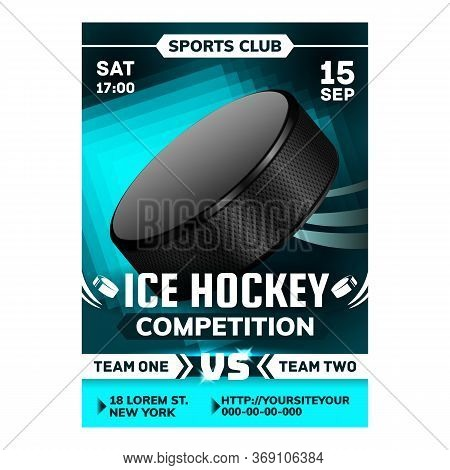 Hockey Ice Rink Sport Advertising Banner Vector. Hockey Puck And Stick Gaming Tool For Play Team. Pa