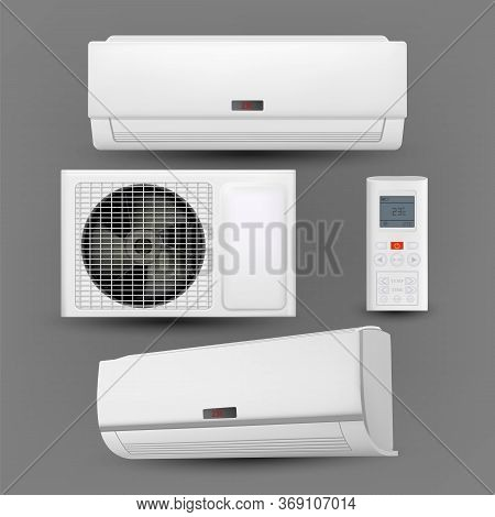 Air Conditioner System With Control Set Vector. External And Room Block Of Conditioner And Remote Co