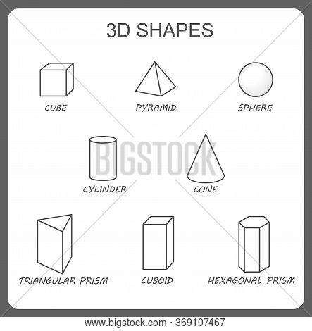 Solid 3d Shapes: Cylinder, Cube, Prism, Sphere, Pyramid, Hexagonal Prism, Cone. Isolated Vector Soli