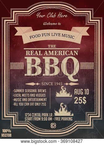 Bbq Party Invitation Template With Geometric Elements On A Chalkboard. Summer Barbecue Weekend Flyer