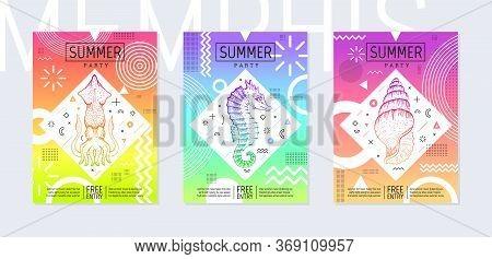 Rainbow Summer Flyer Set In Geometric 80th Memphis Prism Style. Disco Light Art. Sea Tropical Fish E