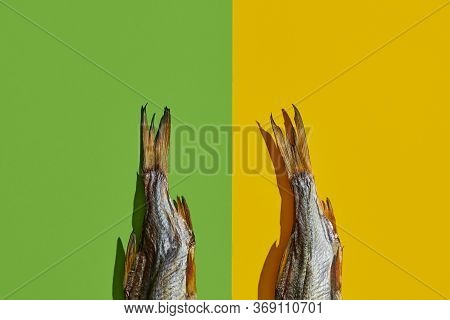 Two Dried Or Jerky Salted Taranka Tails, Palatable Clipfish Isolated On Yellow And Green Background.