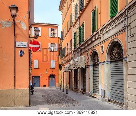 A street in historic Jewish Ghetto in Bologna, Italy