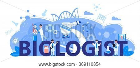 Biologist Online Learning Concept. Biological Technology, Biotechnology Science Vector. Scientists S