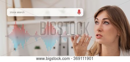 Voice Search Concept. Businesswoman Using Smart Phone Virtual Assistant App Browsing Internet Workin