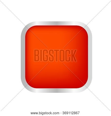 Button Square Shape Red For Buttons Games Play Isolated On White, Red Modern Buttons Simple And Conv
