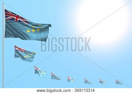 Beautiful Labor Day Flag 3d Illustration  - Many Tuvalu Flags Placed Diagonal With Soft Focus And Em