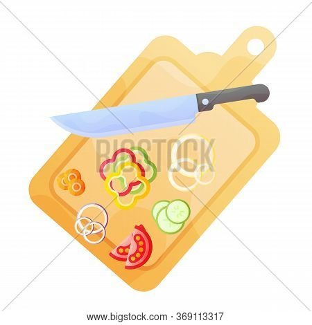 Cooking Healthy Food On Kitchen. Useful Meal On Chopping Board.