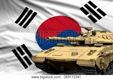 Republic Of Korea (south Korea) Modern Tank With Not Real Design On The Flag Background - Tank Army
