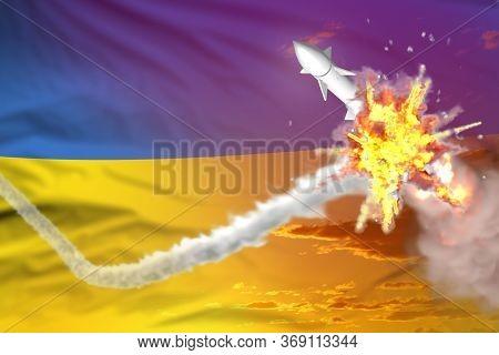 Ukraine Intercepted Nuclear Warhead, Modern Antirocket Destroys Enemy Missile Concept, Military Indu