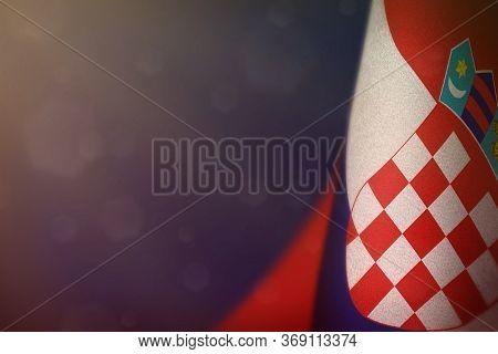 Croatia Hanging Flag For Honour Of Veterans Day Or Memorial Day On Blue Dark Velvet Background. Croa