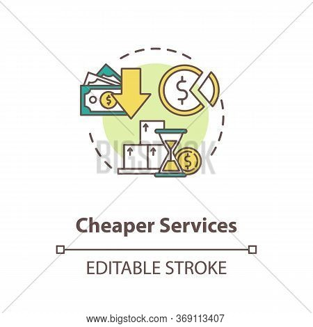 Cheaper Services Concept Icon. Marketing Strategy. Trading Solution. Commerce, Money. Reduces Price