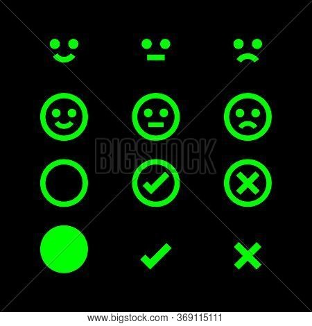 Green Glowing Icon Emotions Face, Emotional Symbol And Approval Check Sign Button, Fluorescent Emoti