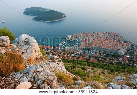 Panoramic View Of The Old Town Dubrovnik And Island Lokrum