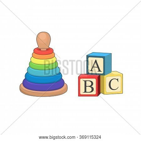 Building Abc Block. Cartoon Vector Illustration. Baby Toy Pyramid, Playing Wooden Alphabet Cube. Log