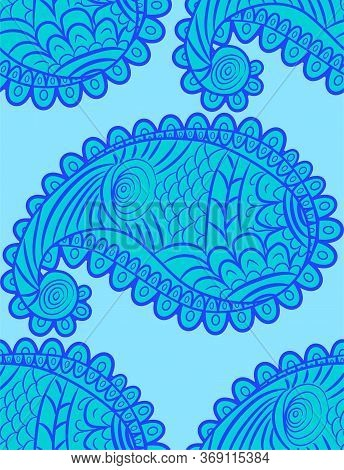 Seamless Pattern With Indian Ornament. Turkish Cucumber.