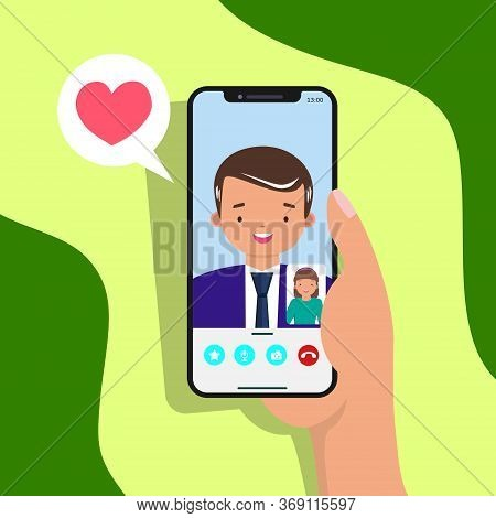 Girl Video Chat With Her Father Illustration. Video Chat Concept With Smartphone. Father's Day Video