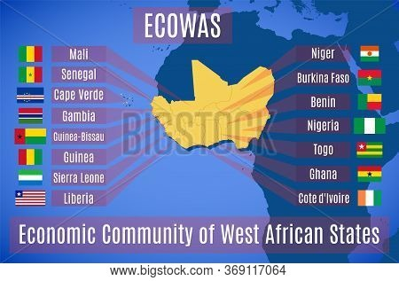 Vector Map And Flag Of The Economic Community Of West African States (ecowas).