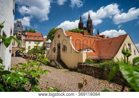 Fable Fairy Tale Meissen Old Town. Beautiful Albrechtsburg Castle. Old Orange Tiled Roof Buildings.
