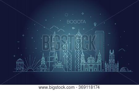 Bogota Architecture Line Skyline Illustration. Linear Vector Cityscape With Famous Landmarks
