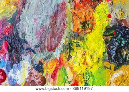 Abstract Acrylic Paint Palette Of Colorful, Mix Color, Background,vector Illustration,a Mixture Of C