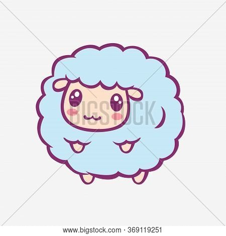 Kawaii Cartoon Sheep. Funny Smiling Little Sheep