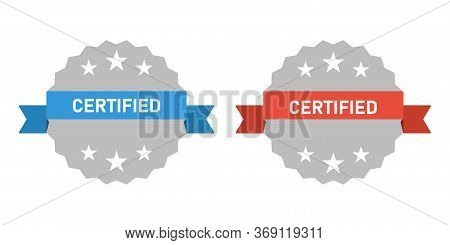 Certified Stamp Flat Icon, Vector Quality Sticker, White Background. Eps 10.