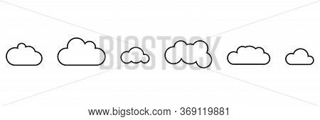Cloud Icon Collection, Vector Heaven Flat Set, White Background.